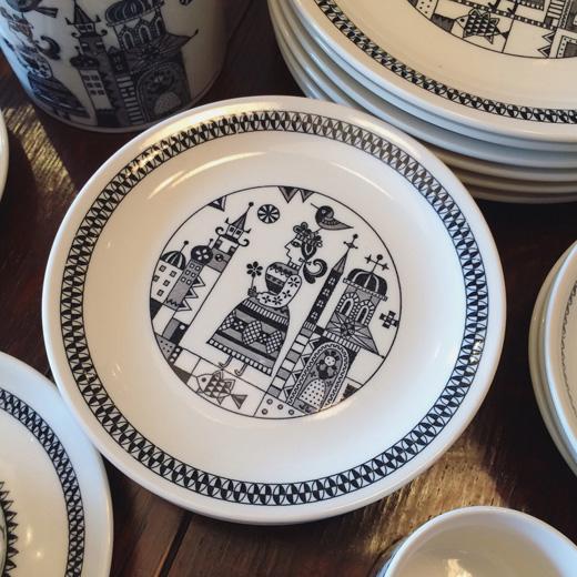 レトロモダン、陶器、ヴィンテージ食器、北欧風、モノトーン、カップソーサー
