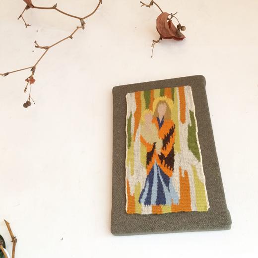 北欧ヴィンテージ、絵織物、フレミッシュ織、聖母子像、クリスマス