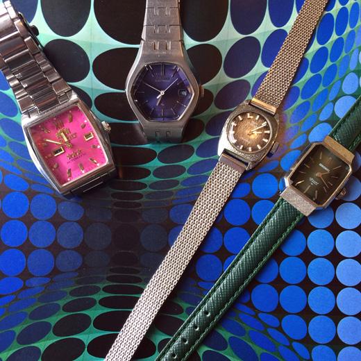 ヴィンテージウォッチ、腕時計、レディースウォッチ、セイコー、オリエント、テクノス、カラー文字盤、モダンデザイン