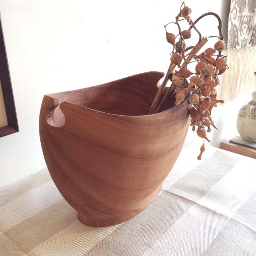 チークウッド、ボウル、木目、花器