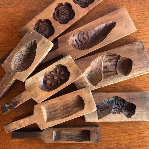菓子型、木型、和菓子、無垢木、カッティングボード、見立て、古道具