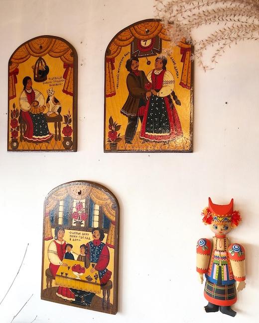 ロシア雑貨、ホフロマ、ラッカー塗り細密画、壁掛け、ウォールプレート、フォークアート、ヴィンテージ雑貨