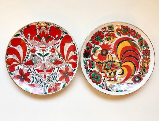 ロシア陶器、ヴィンテージ、絵皿、ウォールプレート、鶏、縁起物、ニワトリ