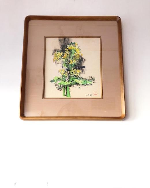 杉山由伸、水彩画、色紙絵、菜の花、額装