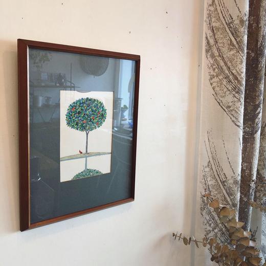 丹野正弘、水彩画、ことりと樹、額裝品、モダンインテリア、ヴィンテージ絵画