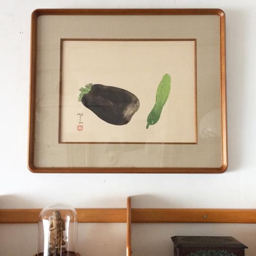 宮原明良、水彩画、茄子と胡瓜、夏野菜、旬のもの、額裝品、色紙絵、和のしつらえ、夏のしつらえ