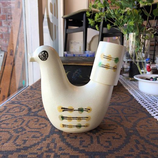 鳥の冠水瓶、日本クラフト、水差し、レトロモダン
