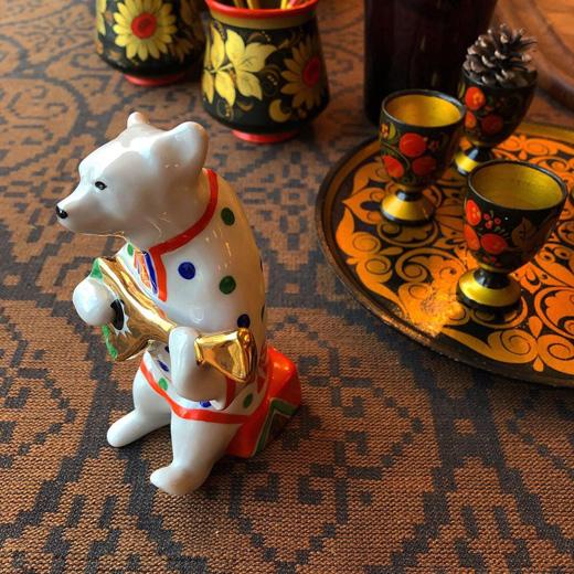 ロシア雑貨、白くま、フィギュリン、陶器、ヴィンテージ、バラライカ、クリスマスプレゼント