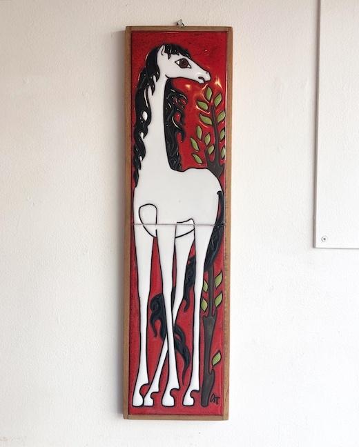 白馬、陶板、タイル画、セラミックアート、ヴィンテージ、ギリシャ、モダンアート、壁掛け、壁飾り