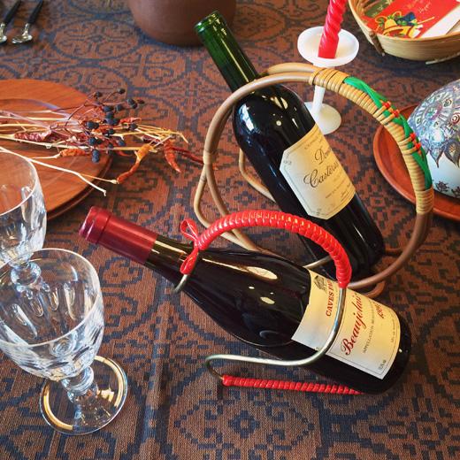 ワインホルダー、北欧ヴィンテージ、ワインボトルホルダー、ボジョレーヌーヴォー