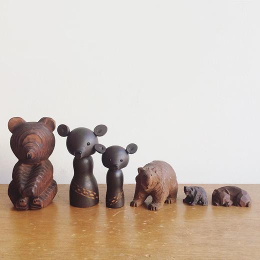 木彫り熊、北海道土産、クラフト、民芸品、眠り猫、一刀彫、ご当地こけし