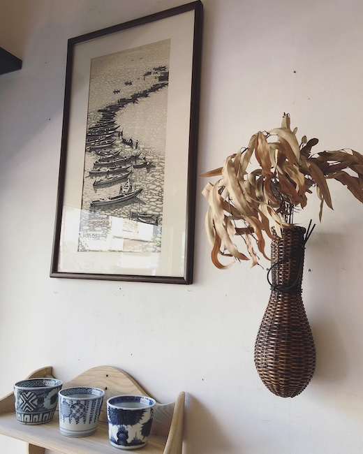 奥山儀八郎、木版画、あさり舟、日本の風景、額装