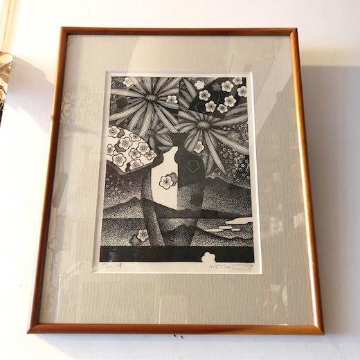 富張宏司、木版画、峰、1982年、額装品、迎春、お正月