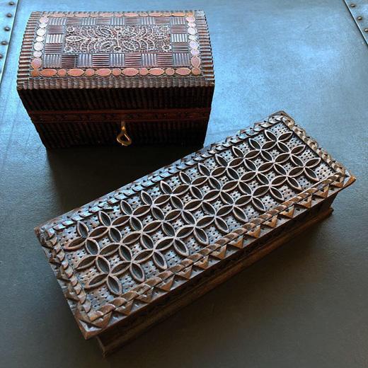 木の箱、木箱、宝石箱、木彫り、彫刻、ハンドクラフト、ウッドカービング、象嵌、匠