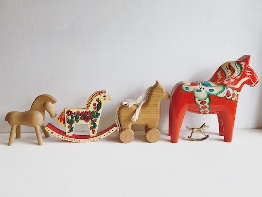 ヴィンテージ、木のおもちゃ、ダーラヘスト、ロッキングホース、馬、世界の民芸、カイボイスン、