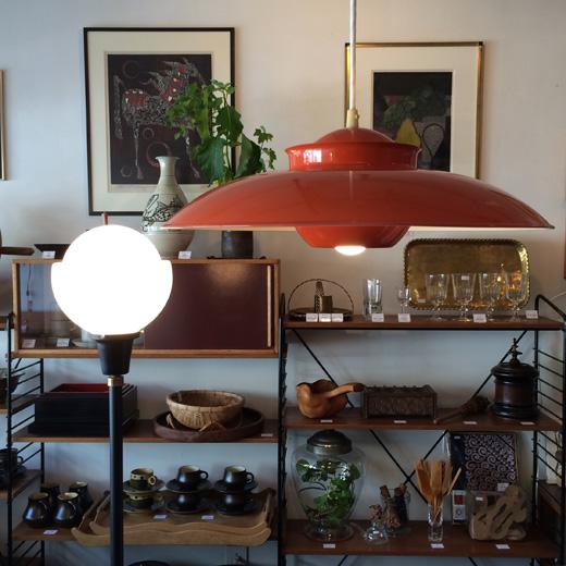 ヤマギワ、ヴィンテージ照明、ペンダントランプ、モダン、オレンジ、北欧スタイル