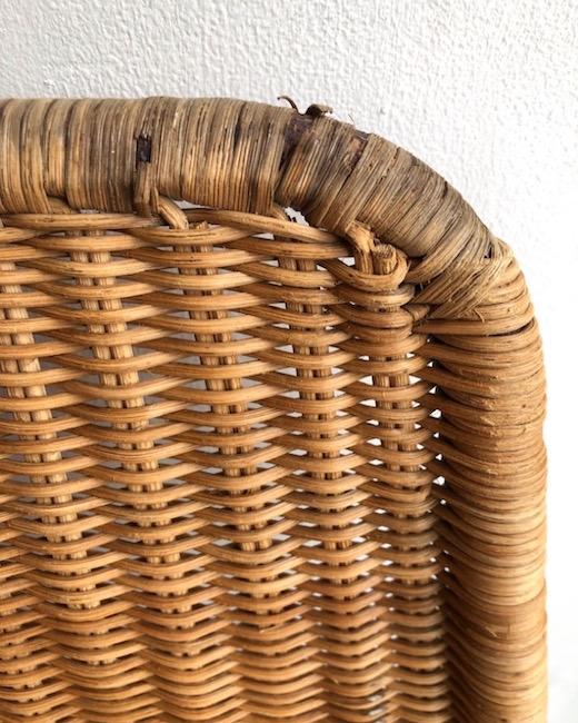山川ラタン、山川譲、籐椅子、籐編み、ヴィンテージチェア、スタッキングチェア、ジャパニーズモダン、レストア