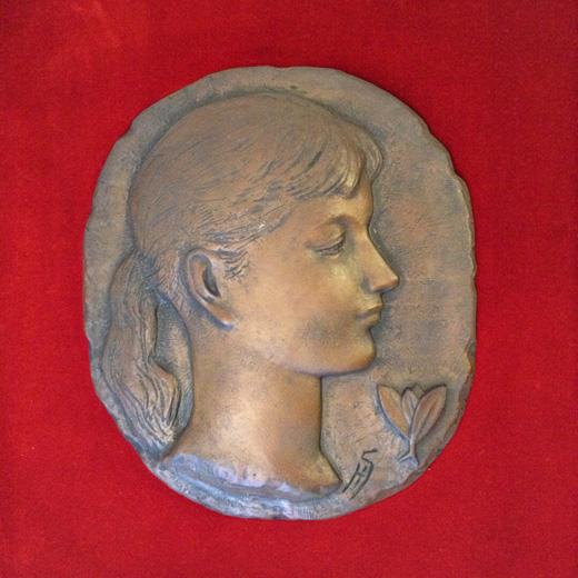 レリーフ彫刻、船越保武、1966、額裝品、船越桂、少女像