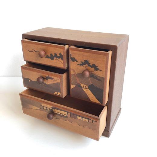 寄木細工、入れ子箱、カラクリ箱、小箱、木箱、ジュエリーボックス、宝石箱、工芸、ヴィンテージ、小引き出し