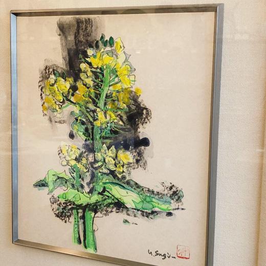 杉山吉伸、水彩画、色紙絵、菜の花、春を呼ぶ、春の絵画、額裝