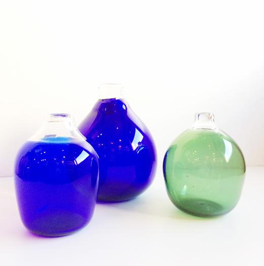 濱田能生、花器、ガラス工芸、瑠璃硝子口透花瓶、アートガラス