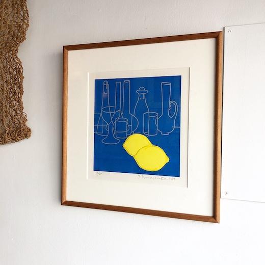 船坂芳助、シルクスクリーン、レモン、版画作品、モダン、1980、額装